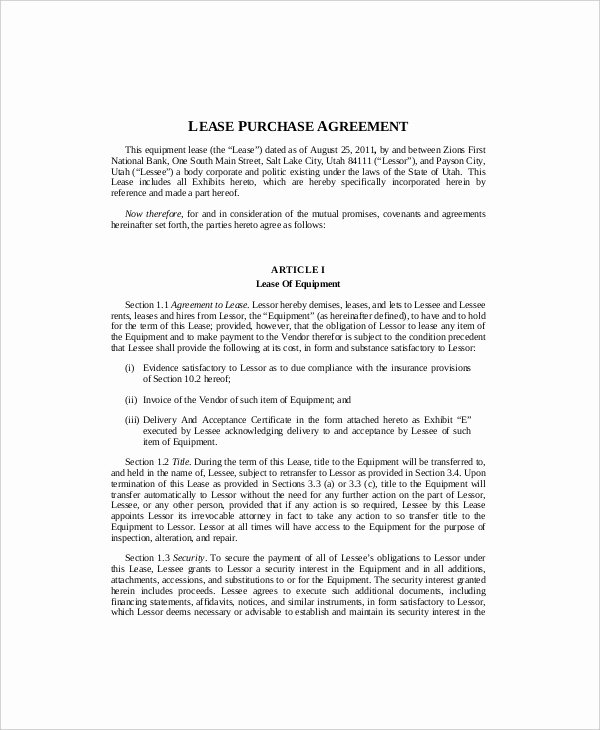 Lease Purchase Agreement New 10 Equipment Lease Templates Word Pdf Google Docs