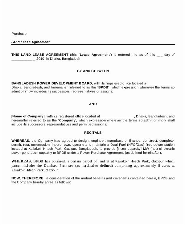 Lease Purchase Agreement New 7 Land Purchase Agreement form Samples Free Sample