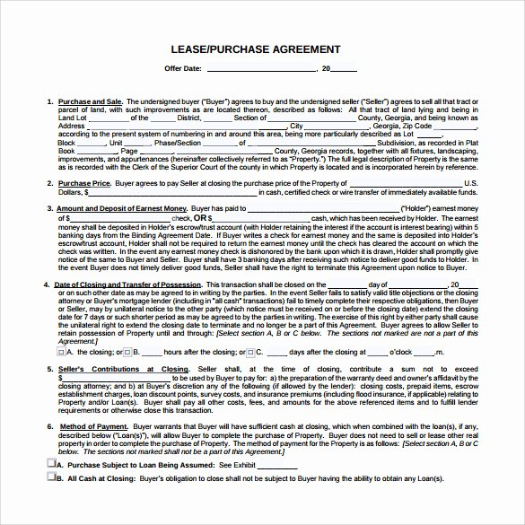 Lease Purchase Agreement New Lease Purchase Agreement