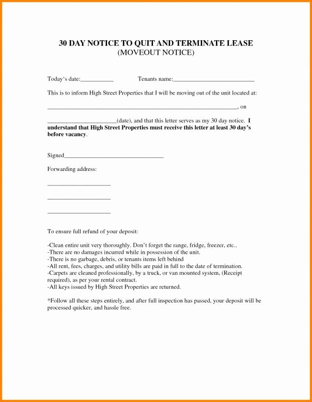 Lease Termination Notice to Tenant Awesome Lease Termination Letter Landlord to Tenant