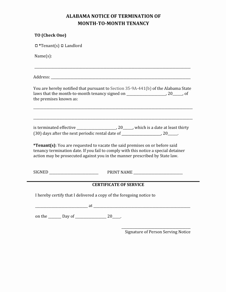 Lease Termination Notice to Tenant Beautiful Alabama Lease Termination Letter form
