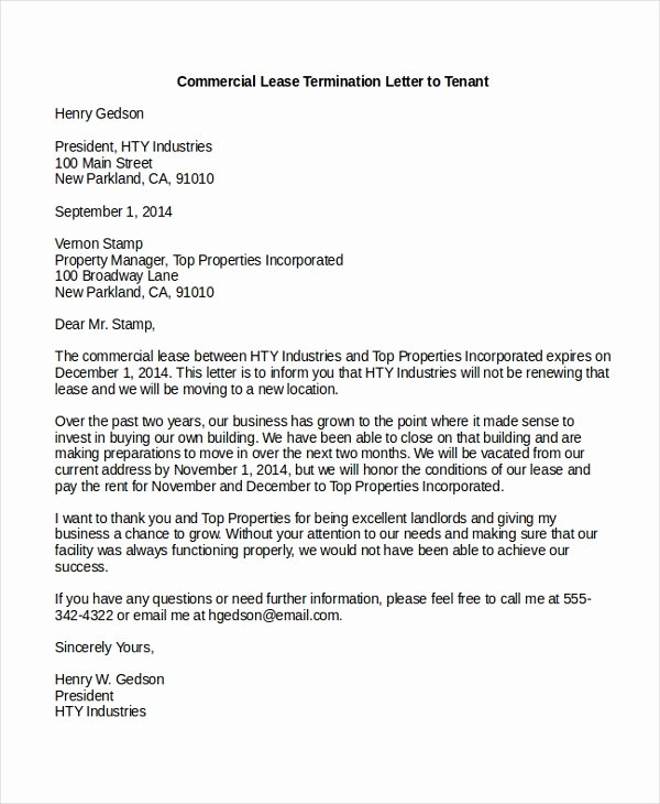 Lease Termination Notice to Tenant Beautiful Sample Mercial Lease form 9 Free Documents In Pdf Doc