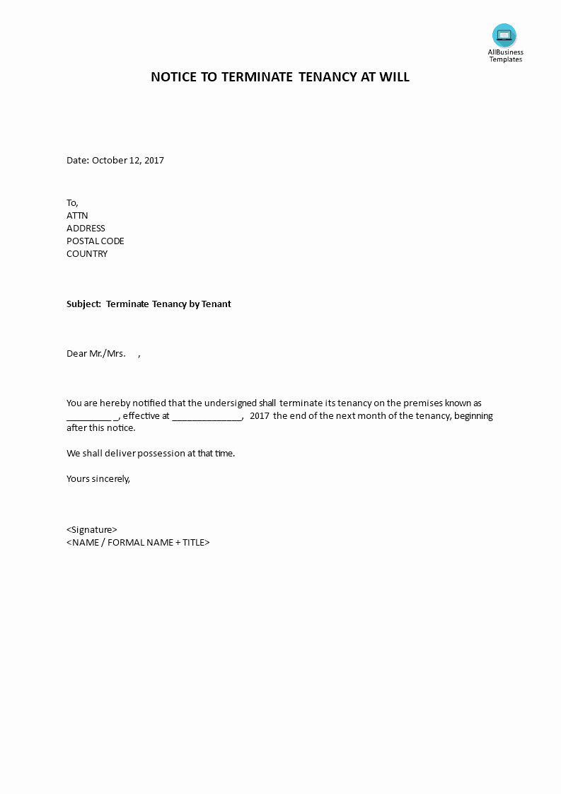 Lease Termination Notice to Tenant Elegant Notice to Terminate Tenancy at Will by Tenant