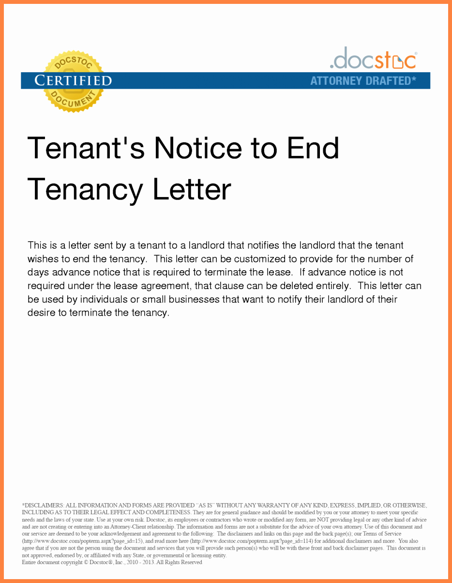 Lease Termination Notice to Tenant Fresh 8 Letter to Tenant to Terminate Lease Agreement