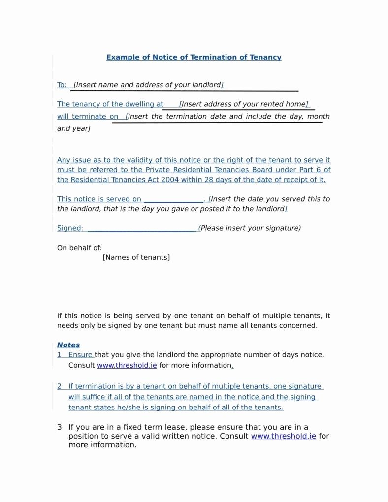 Lease Termination Notice to Tenant Lovely 9 Tenancy Termination Letters Free Samples Examples