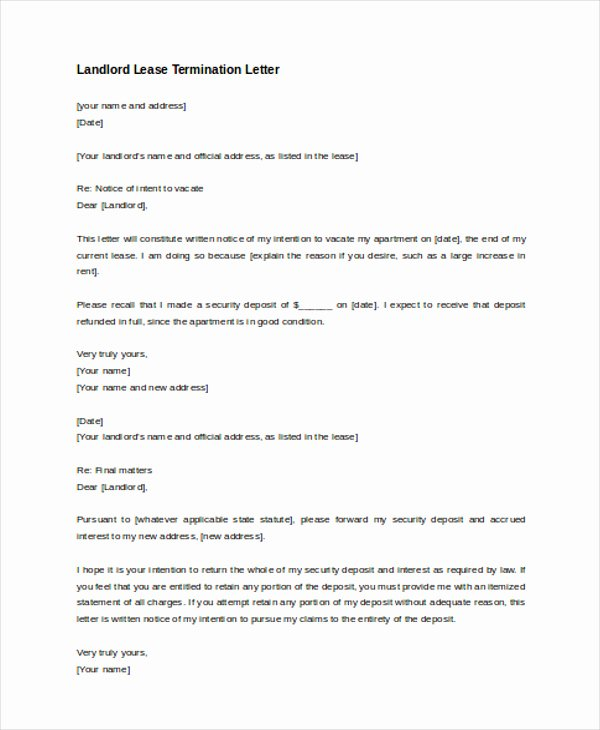 Lease Termination Notice to Tenant Lovely Landlord Letter to Tenant