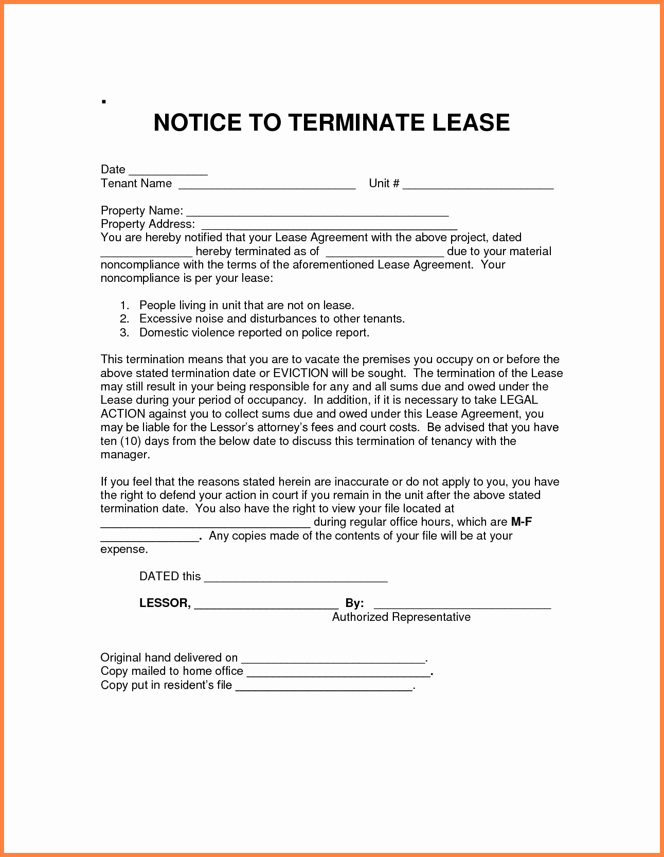 Lease Termination Notice to Tenant Unique 7 Notice for Termination Of Rental Agreement