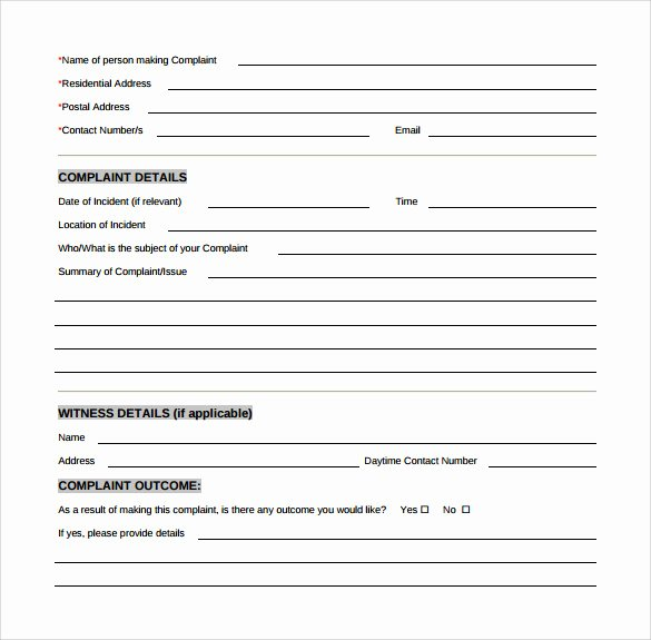 Legal Complaint Template Word Best Of Sample Customer Plaint form Examples 8 Free