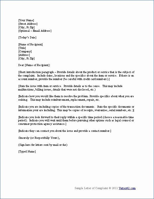 Legal Complaint Template Word Fresh Download the Plaint Letter Template From Vertex42