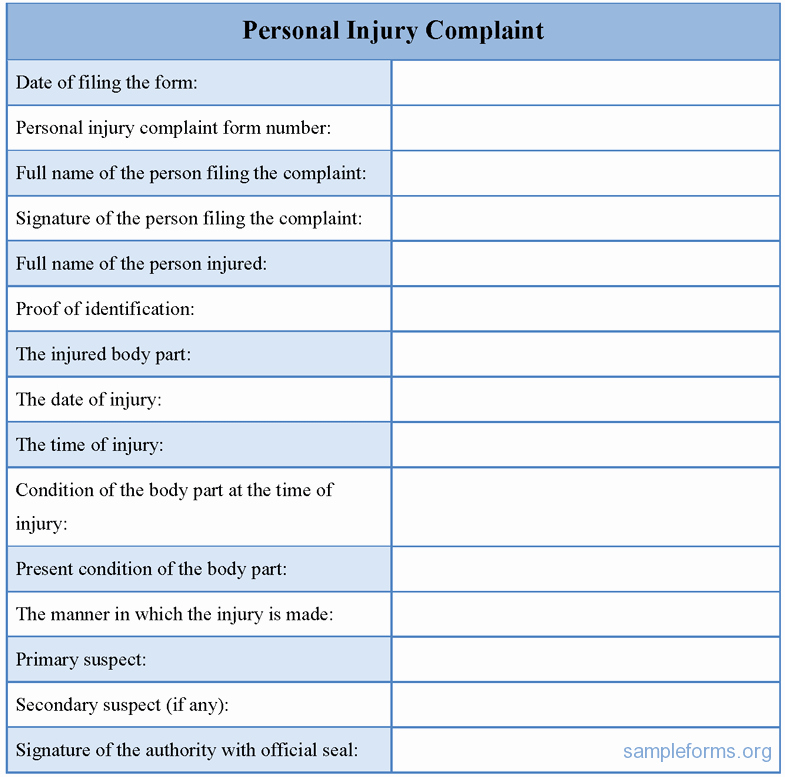 Legal Complaint Template Word New Personal Injury form Template