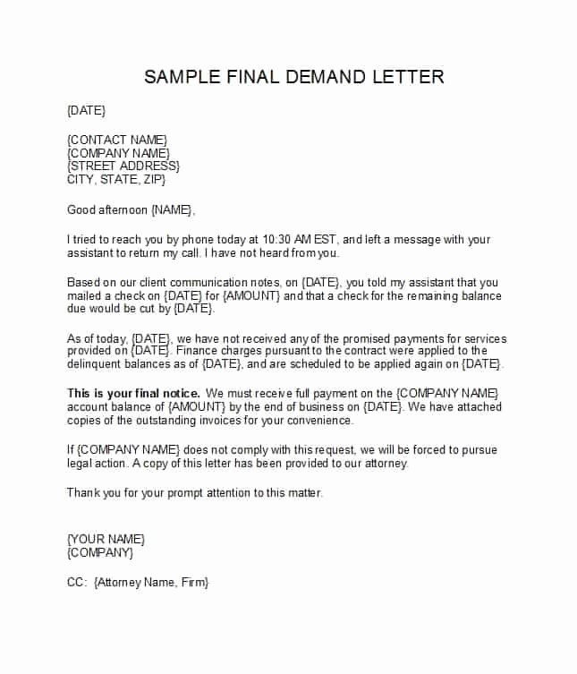 Legal Letter format Template Inspirational Demand Letter Template