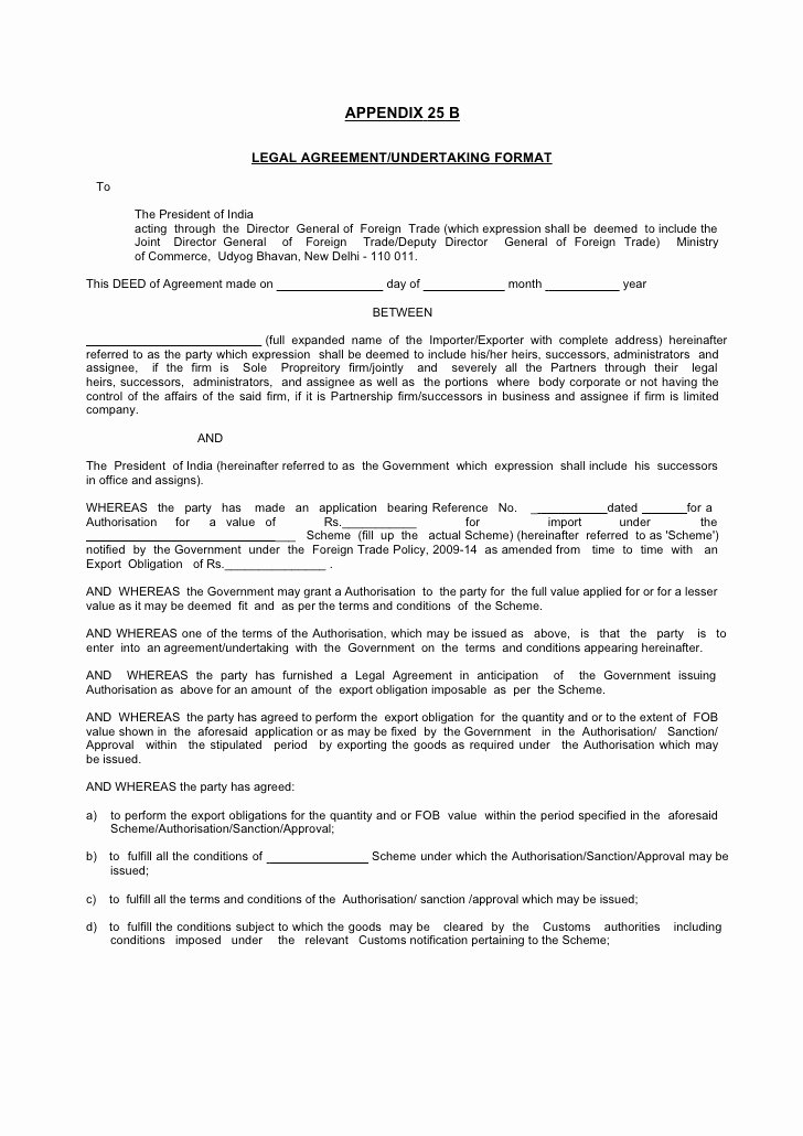 Legal Letter format Template New Legal Agreement Undertaking format
