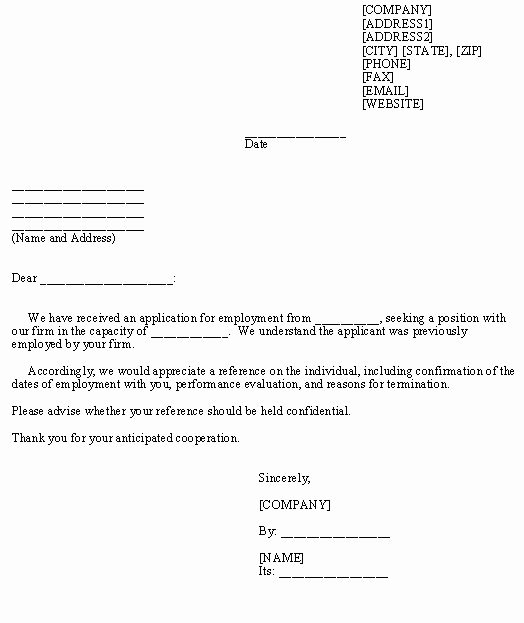 Legal Letter format Template Unique Request for Employment Reference Template