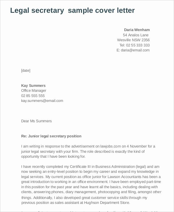 Legal Secretary Cover Letter Samples Beautiful Application Letter Sample for Lawyer Legal Secretary