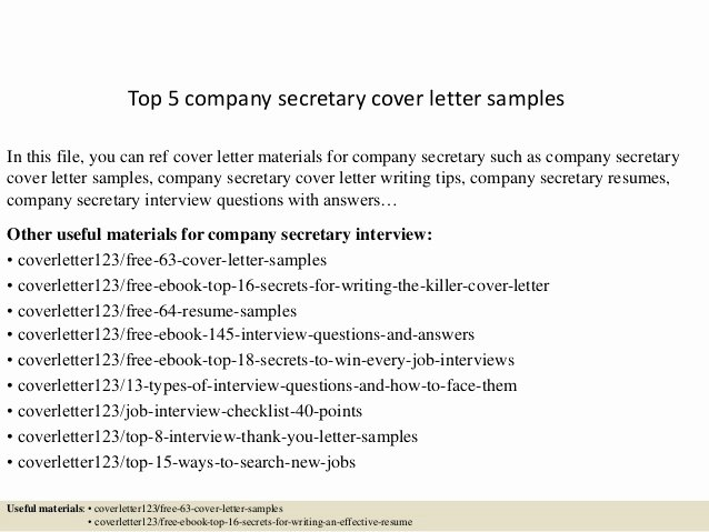 Legal Secretary Cover Letter Samples Beautiful top 5 Pany Secretary Cover Letter Samples