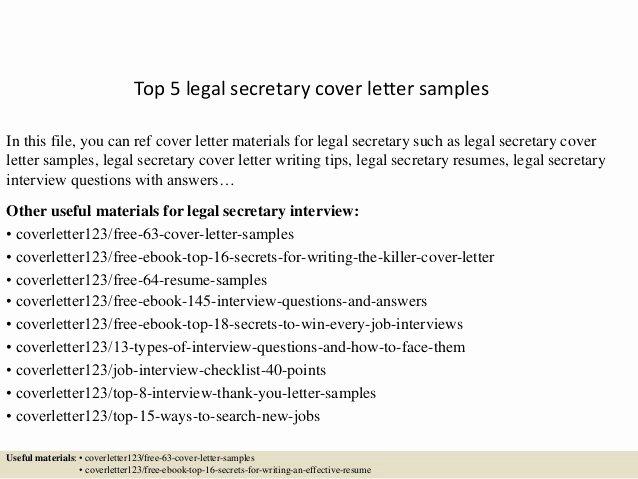 Legal Secretary Cover Letter Samples Best Of top 5 Legal Secretary Cover Letter Samples