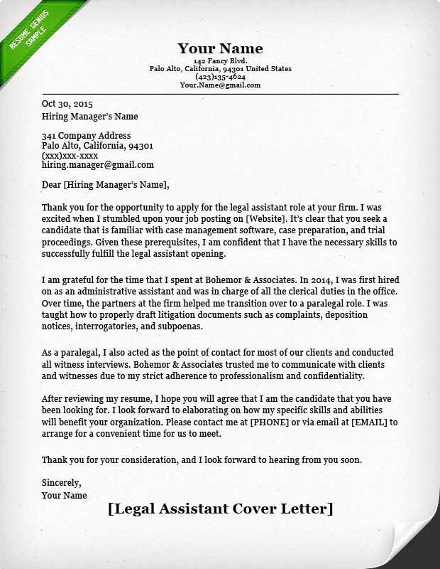 Legal Secretary Cover Letter Samples Fresh Paralegal Cover Letter Sample