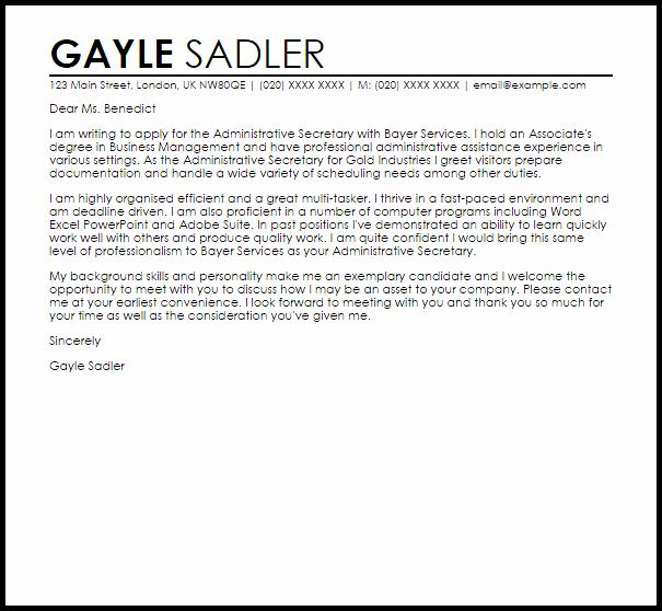 Legal Secretary Cover Letter Samples Unique Cover Letter Sample Secretary Job Secretary Cover Letter