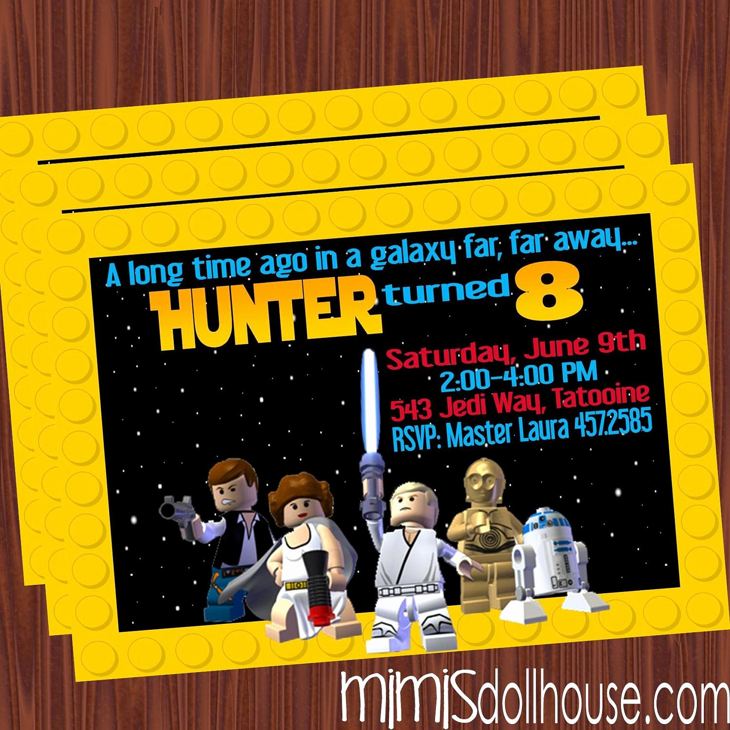 Lego Star Wars Birthday Invitations Awesome Lego Star Wars Party Invitation Lego Star Wars by