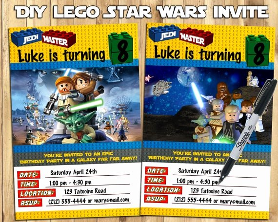 Lego Star Wars Birthday Invitations Fresh Diy Lego Star Wars Invitations Download Print by Instabirthday