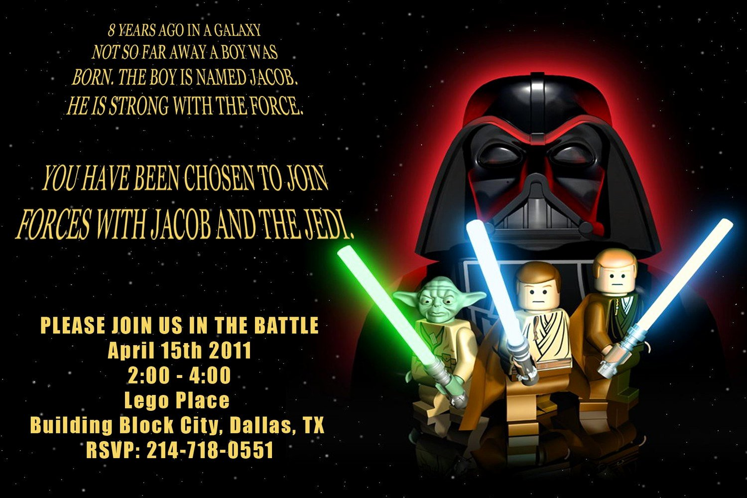 Lego Star Wars Birthday Invitations Fresh Star Wars Personalized Party Invitation Digital File You Print