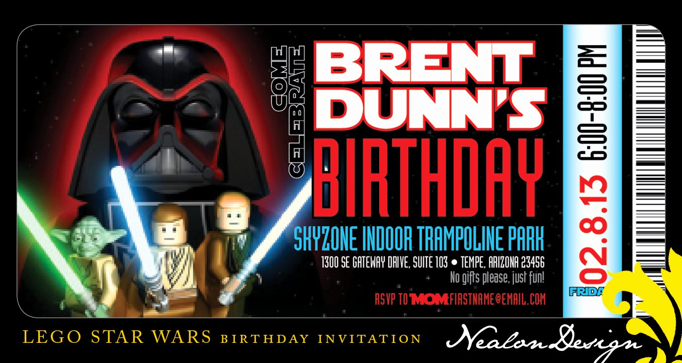 Lego Star Wars Birthday Invitations Luxury Nealon Design Lego Star Wars Birthday Invitation Ticket