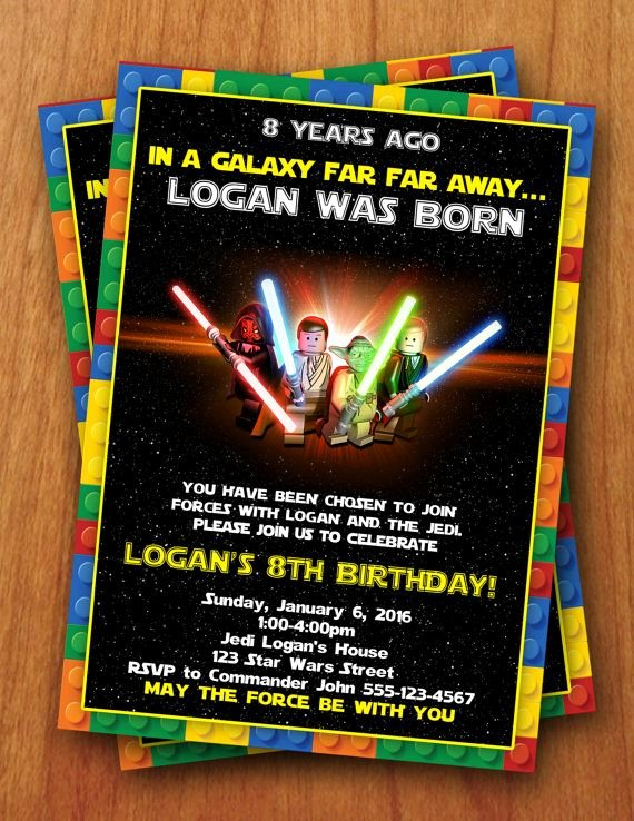 Lego Star Wars Birthday Invitations Unique Lego Star Wars Digital Birthday Invitation by