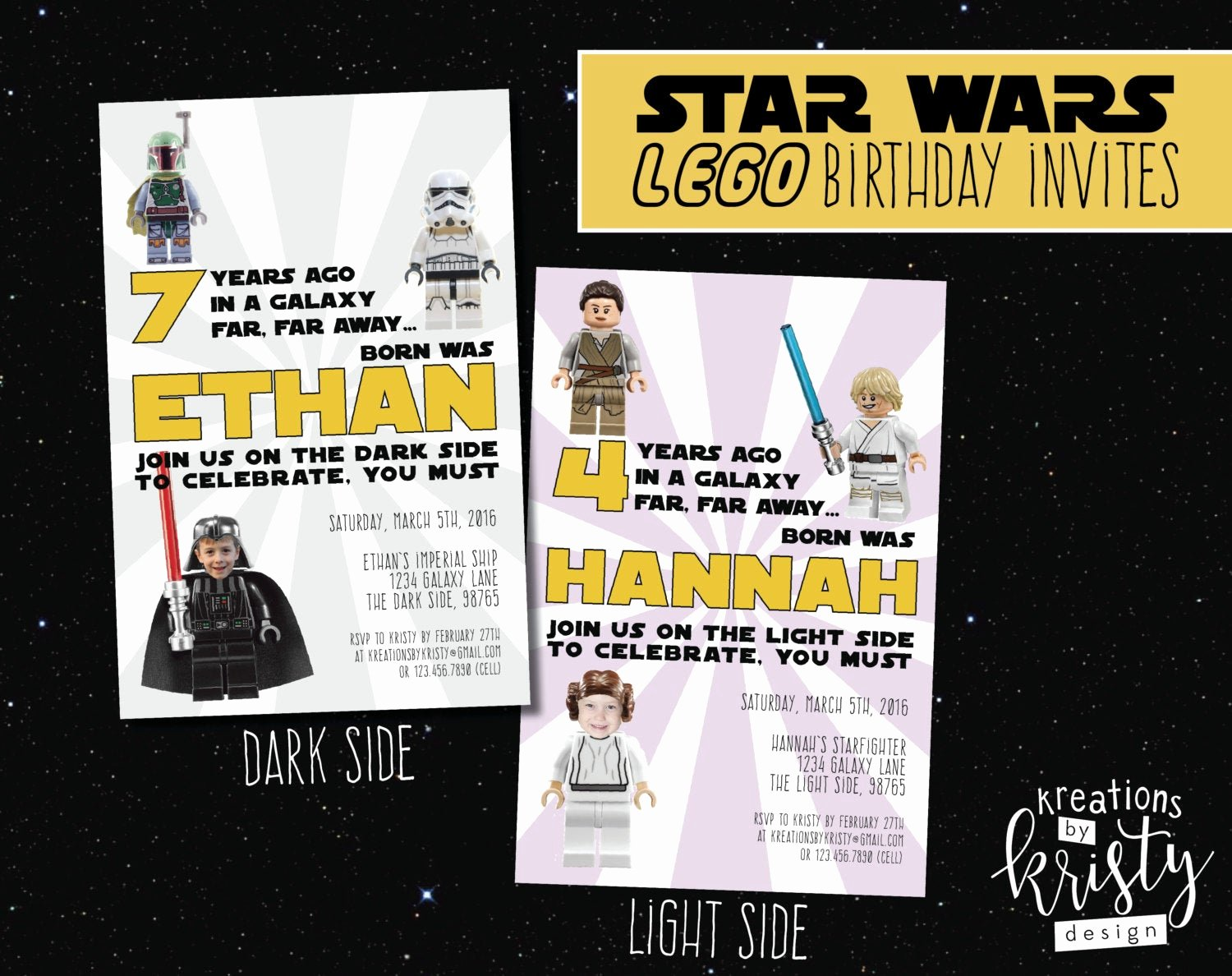 Lego Star Wars Birthday Invitations Unique Star Wars Lego themed Birthday Party Photo Invitation