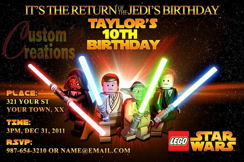 Lego Star Wars Invitations Beautiful Lego Star Wars Birthday Invitations Free