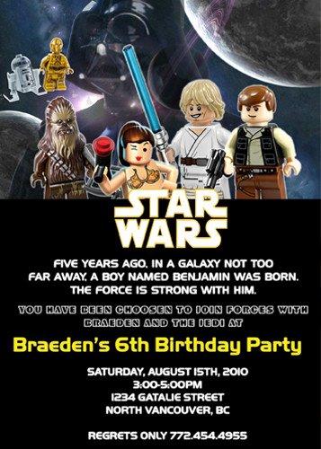 Lego Star Wars Invitations Beautiful Lego Star Wars Custom Birthday Invitation