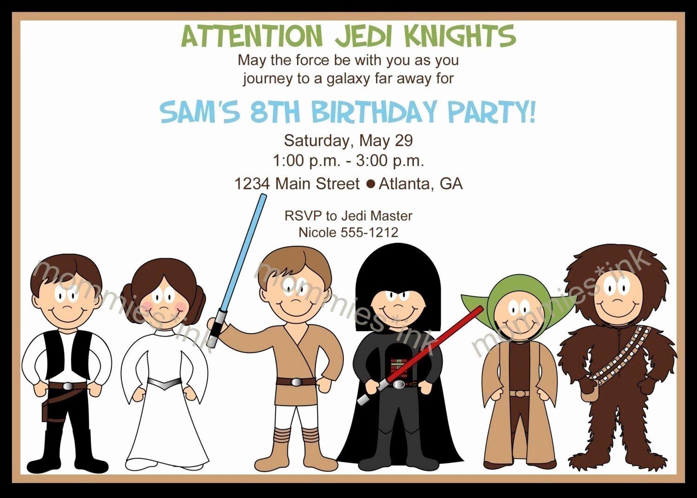 Lego Star Wars Invitations Elegant Star Wars Inspired Birthday Invitation Horizontal or