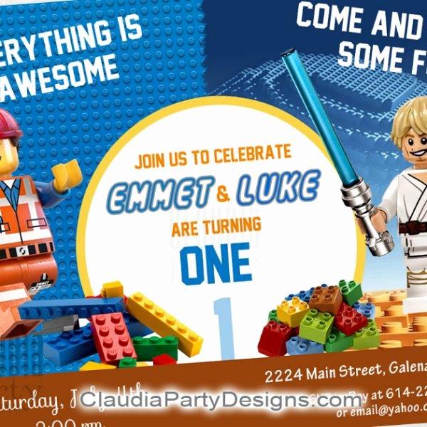 Lego Star Wars Invitations Lovely Lego Birthday Invitation Lego Star Wars Invitation