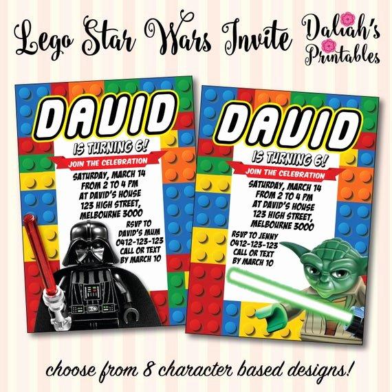 Lego Star Wars Invitations Luxury Lego Star Wars Invitation Lego Darth Vader by