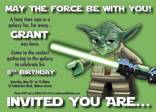 Lego Star Wars Invitations Luxury Star Wars Lego Birthday Invitations