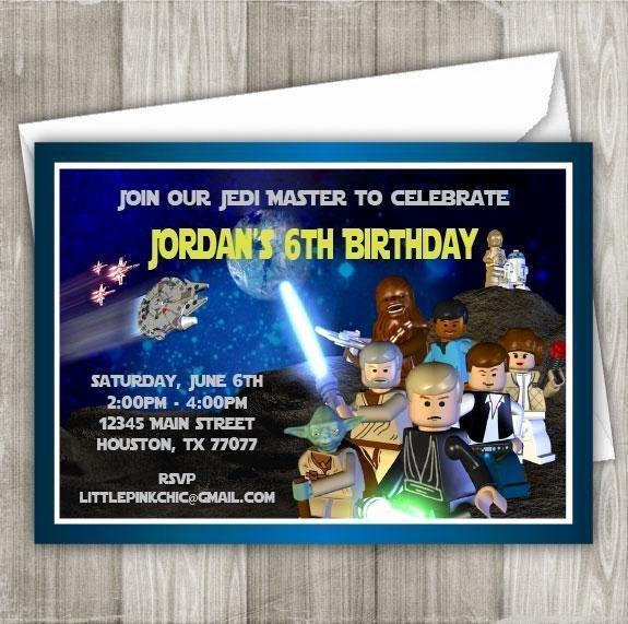 Lego Star Wars Invitations New Star Wars Invitation Lego Star Wars Birthday Invitation