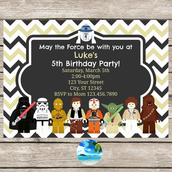 Lego Star Wars Invitations Unique Lego Star Wars Birthday Party Invitation by Coastalinvitations