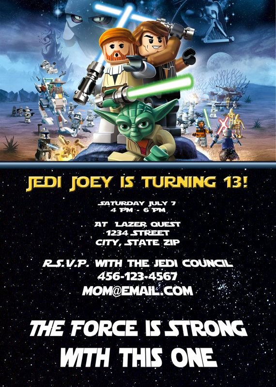Lego Star Wars Party Invites Beautiful Lego Star Wars Han solo Obi Wan Jedi Master Yoda