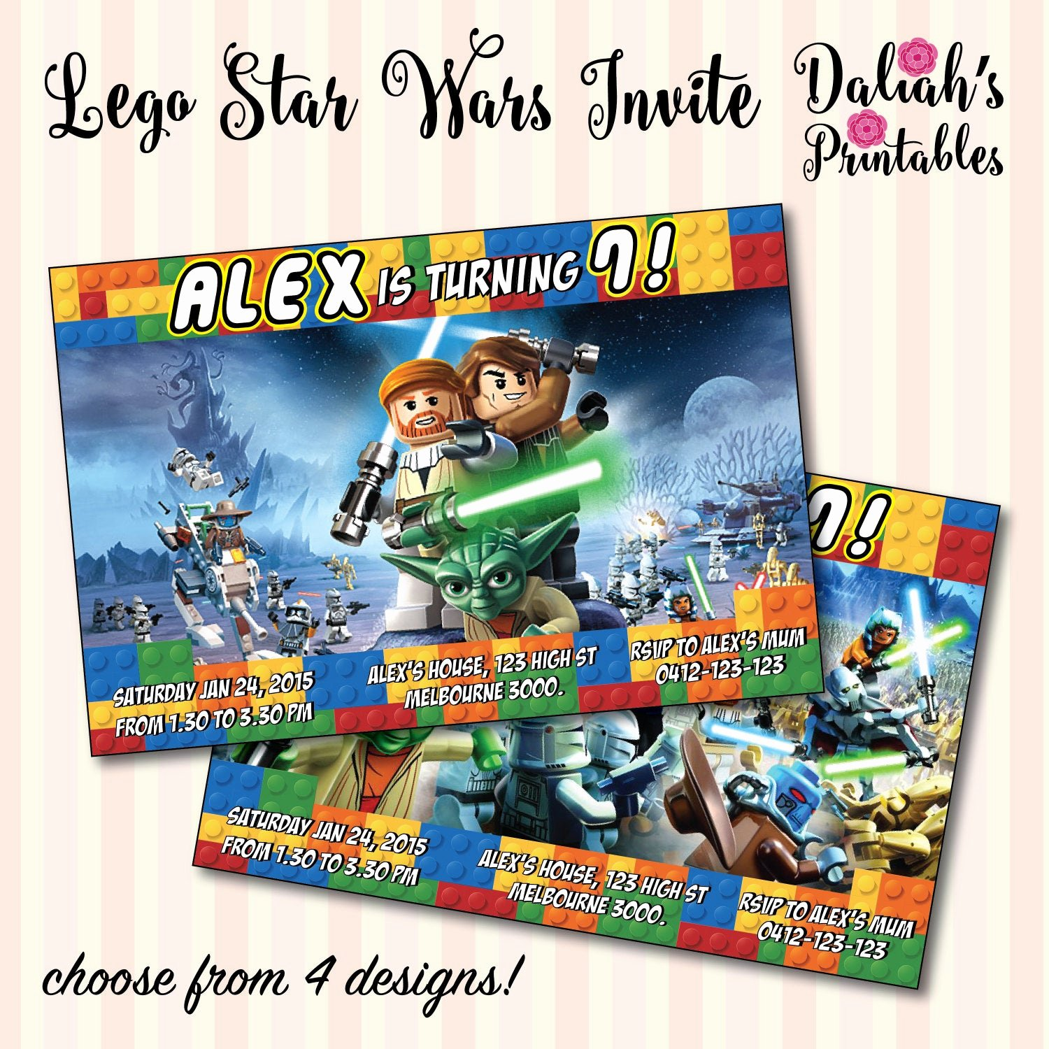 Lego Star Wars Party Invites Beautiful Lego Star Wars Invitation Choose From 4 by Daliahsprintables