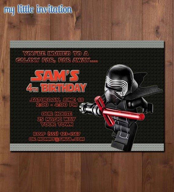 Lego Star Wars Party Invites Beautiful Lego Star Wars Kylo Ren Birthday Party by Mylittleinvitation