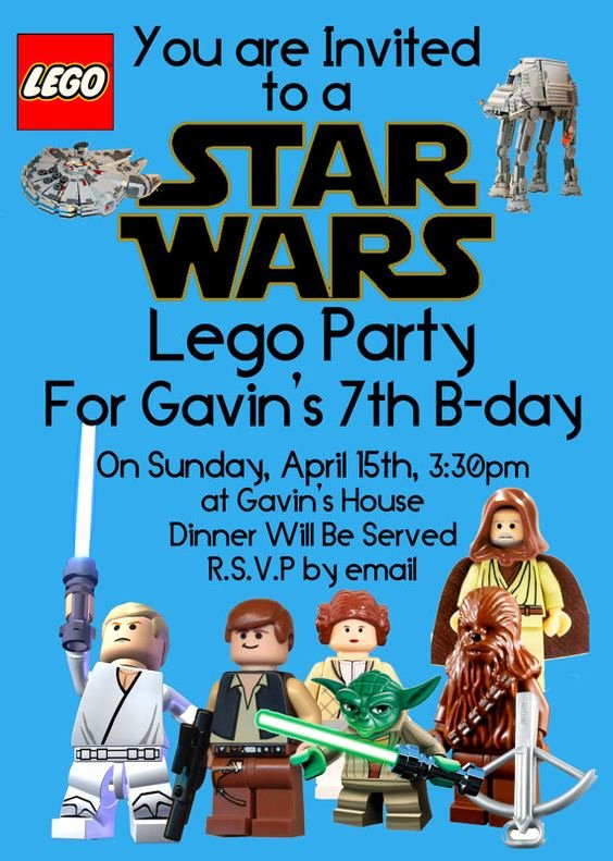 Lego Star Wars Party Invites Beautiful Star Wars Lego Party Invitation by Mastomama On Etsy $15