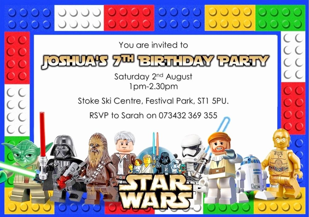 Lego Star Wars Party Invites Best Of 10 Personalised Lego Star Wars Birthday Party Invitations