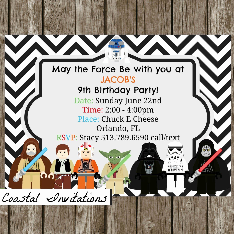 Lego Star Wars Party Invites Best Of Lego Star Wars Birthday Party Invitation by Coastalinvitations
