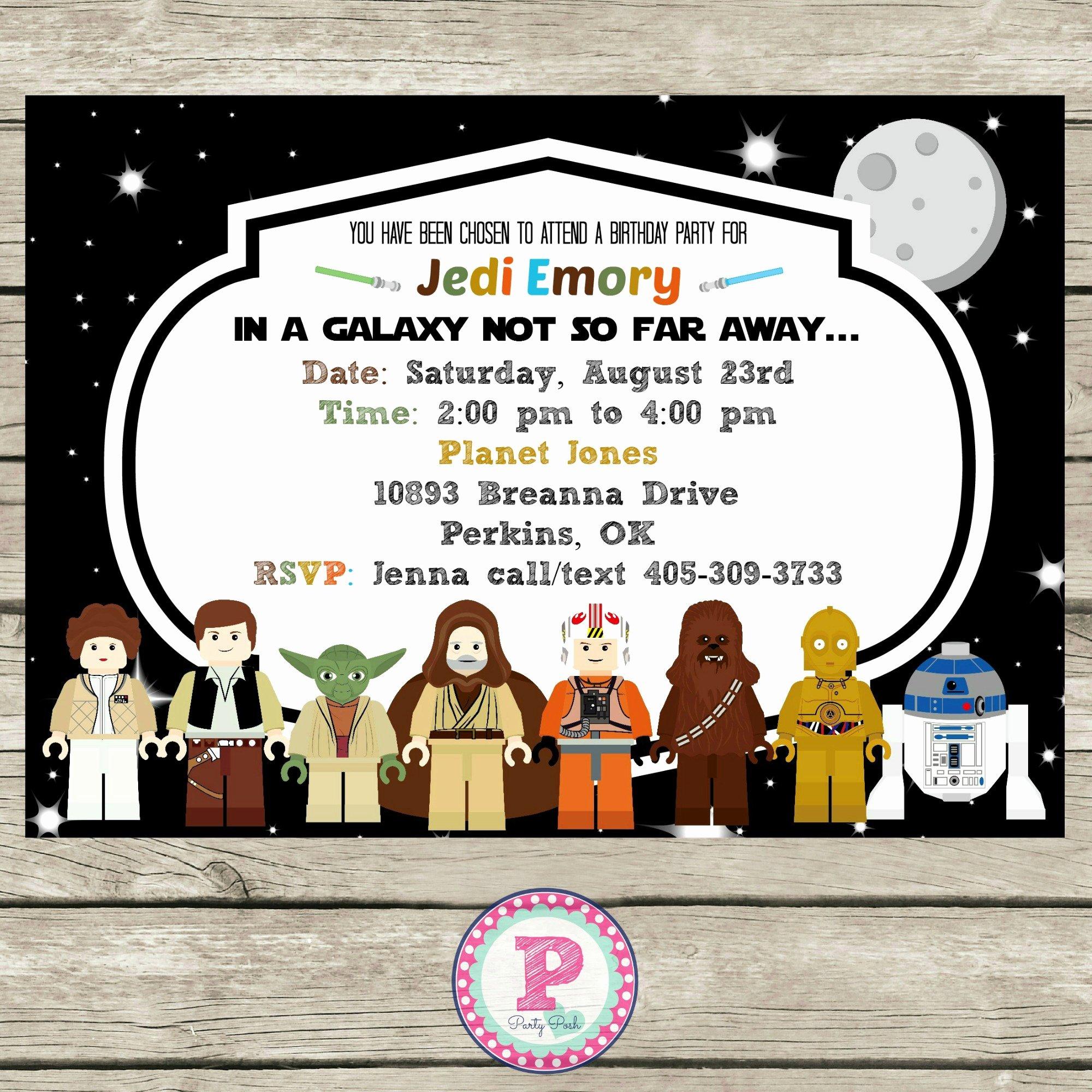 Lego Star Wars Party Invites Fresh Star Wars Lego Birthday Party Ideas Invitations