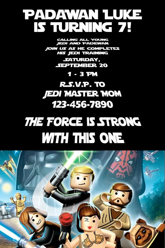 Lego Star Wars Party Invites Inspirational Padawan and Young Jedis Will Love This Lego Star Wars