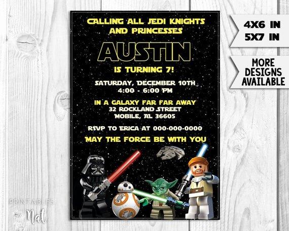 Lego Star Wars Party Invites Lovely Star Wars Lego Birthday Invitation Jedi Darth by