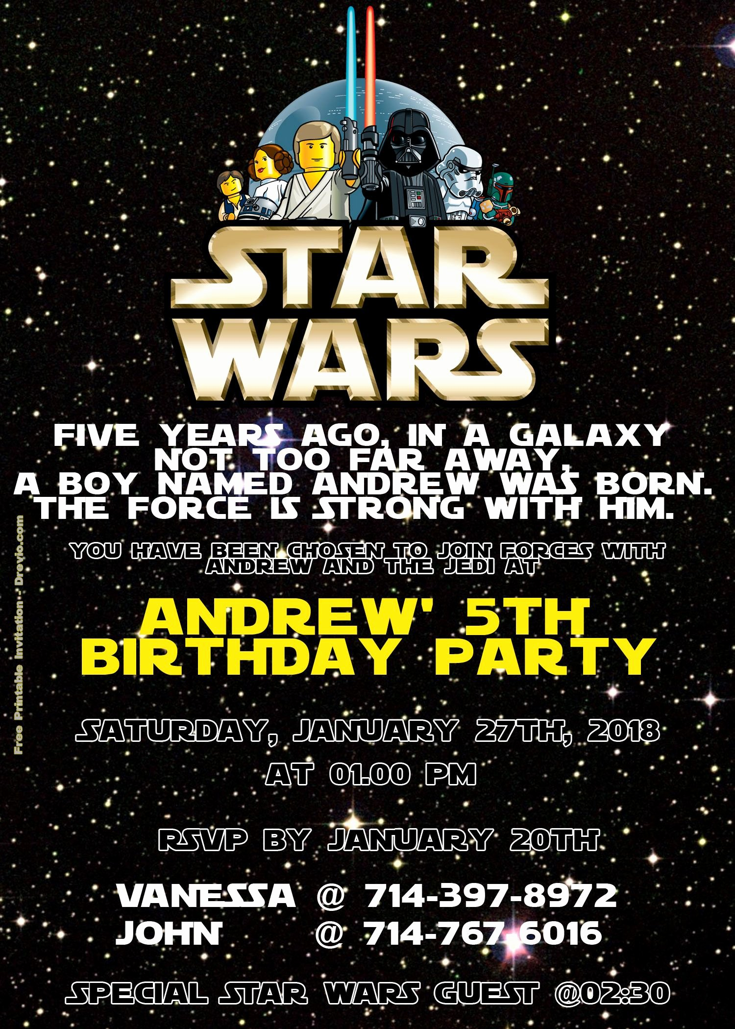 Lego Star Wars Party Invites New Free Lego Star Wars Birthday Invitation Psd