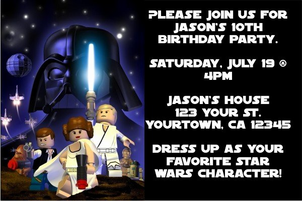 Lego Star Wars Party Invites New Star Wars Lego Star Wars Invitations Space Blast