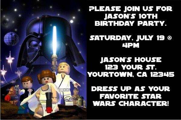 Lego Star Wars Party Invites New Star Wars Lego Star Wars Invitations Space Blast
