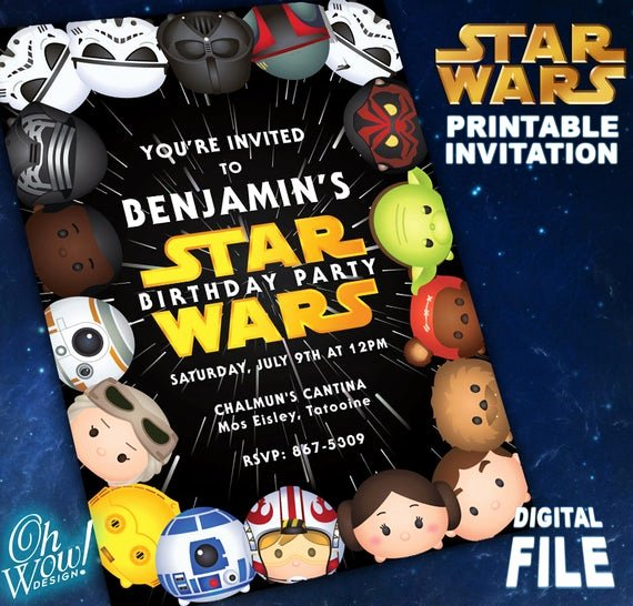 Lego Star Wars Party Invites New Tsum Tsum Star Wars theme Party Invitation