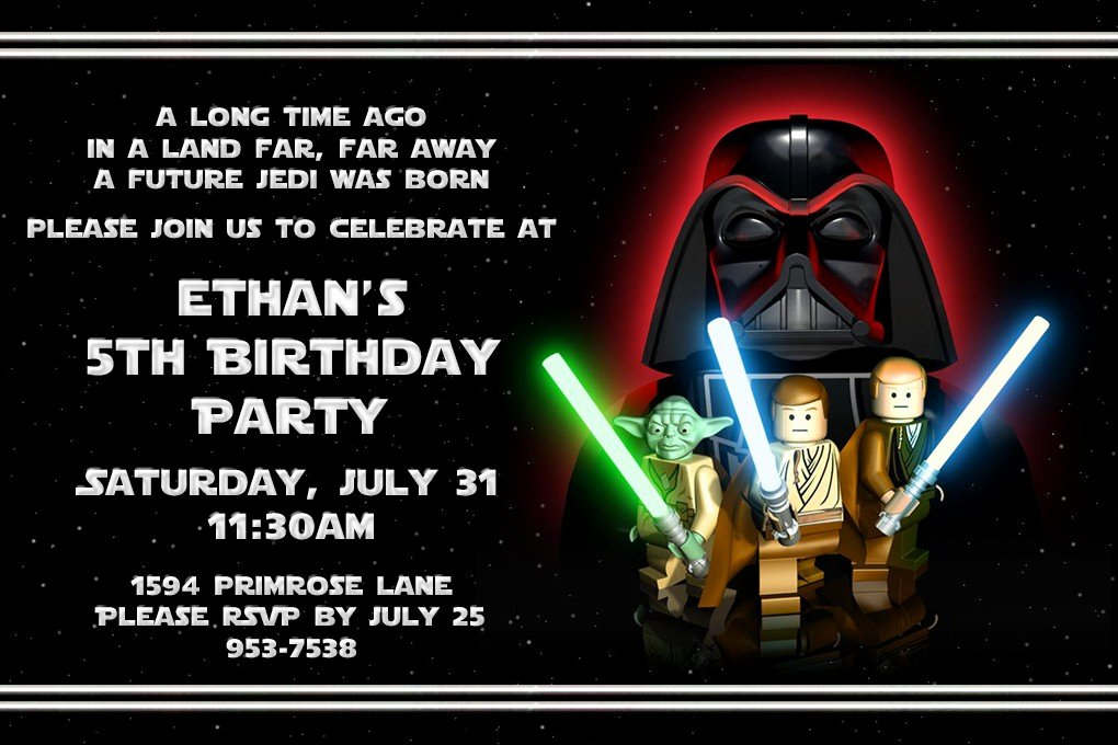 Lego Star Wars Party Invites Unique Free Printable Star Wars Lego Birthday Invitations